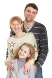 Joyful family teen daughter mom and dad , close-up Stock Photo