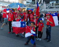 Joyful fans of team Chile soccer actively support their team during the Confederations Cup in Russia. royalty free stock images