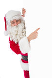 Joyful father christmas presenting sign Stock Images