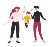 Joyful father, mother and daughter walking together. Smiling dad, mom and their little girl holding hands. Funny cartoon vector illustration