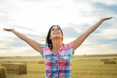 Joyful female farmer success Stock Image