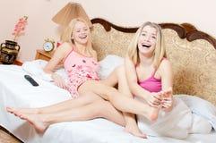 Joyful foot massage treatment Royalty Free Stock Image