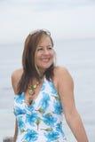 Joyful friendly senior woman outdoor Royalty Free Stock Image