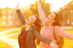 Joyful friends joking raising arms at sunset stock images