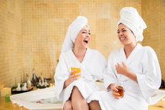 Joyful friends in spa Stock Images