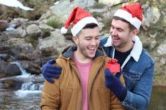 Joyful gay couple during Christmas