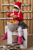 Joyful girl with basket of tangerines Royalty Free Stock Images
