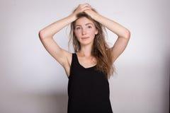 Joyful girl in a black dress Royalty Free Stock Photos