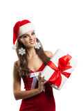 Joyful Girl with Christmas present Stock Photography