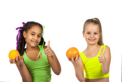 Joyful girl with citrus Royalty Free Stock Photo