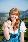 Joyful Girl with Cup of Milk Stock Photo