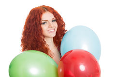 Joyful girl holding colorful balloons. Royalty Free Stock Photo