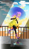 Joyful girl jumping on the stairs in the rain vector. Stock Photo