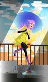 Joyful girl jumping on the stairs in the rain vector. Stock Photo