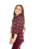 Joyful girl with long dark hair and a plaid shirt Royalty Free Stock Photos