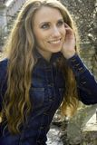 Joyful girl with long hair Stock Photography