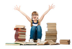 Joyful girl with piles of books Royalty Free Stock Photos