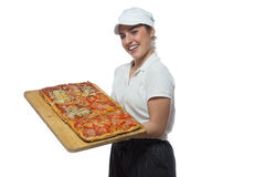 Joyful girl with pizza Stock Photos