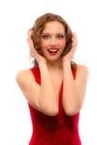 Joyful girl in red dress Royalty Free Stock Photo