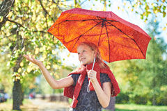 Joyful girl with red umbrella in autumn park on sunny day under Stock Images