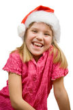 Joyful girl in Santa hat Stock Image