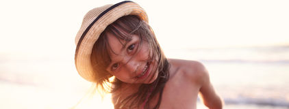 Joyful girl in the summer royalty free stock photos