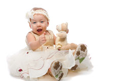 Joyful girl with teddy bear royalty free stock images