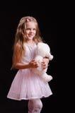 Joyful girl with teddy bear Stock Image