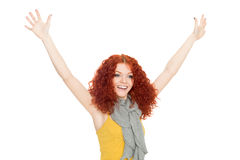 Joyful girl with their hands up Stock Images