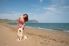 Joyful girl together with samoyed. Samoyed and girl full of joy standing on the beach of the sea Stock Photography