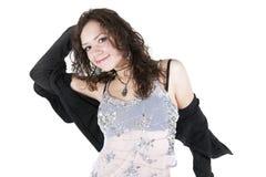 Joyful girl on a white background Royalty Free Stock Photography