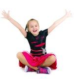 Joyful girl on a white background Stock Image