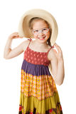 A joyful girl with wide-brimmed hat Royalty Free Stock Photo