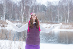 Joyful girl in winter park Royalty Free Stock Photo