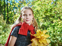 Joyful girl with yellow leaves in autumn park on sunny day royalty free stock photo