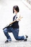 joyful gitarrist Fotografering för Bildbyråer