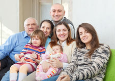 Joyful grandparents with  children and grandchildren Stock Photography