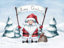 Joyful greeting of Santa Claus with Christmas Stock Photos