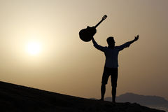Joyful guitarist Royalty Free Stock Photography