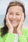 Joyful happy attractive middle aged woman Stock Photos