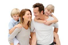 Joyful happy family standing isolated Royalty Free Stock Photography