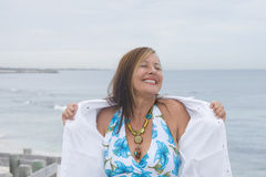 Joyful happy senior woman at beach Royalty Free Stock Photography