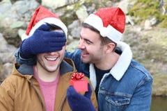 Joyful homosexual couple during Christmas