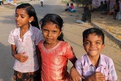 Joyful Indian children. Children on the street in Kollam Royalty Free Stock Photo