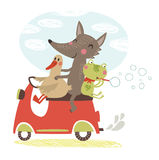 Joyful journey. Illustration. Animals traveling on a motorcycle Stock Photography