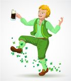 Joyful jumping leprechaun Stock Photography