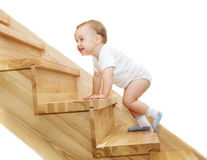 The joyful kid. 's going upstairs royalty free stock images
