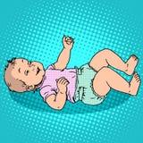 Joyful kid in the diaper Royalty Free Stock Image