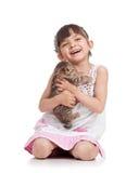Joyful kid girl holding kitten isolated Royalty Free Stock Photo