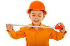 Joyful kid with measure tool Royalty Free Stock Photography